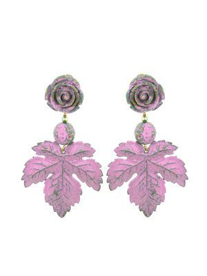 Flamenca flower and pink bubble gum earring with golden highlights