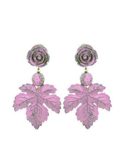 Pendiente de flamenca flor y hoja rosa chicle con reflejos dorados