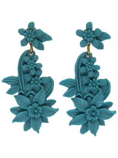 Cyan color resin floral flamenco earring