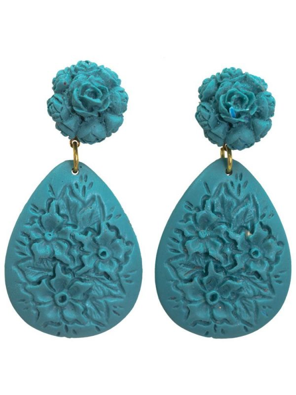 Cyan resin floral flamenco earring