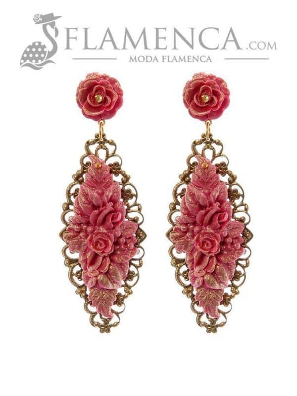 Pendiente de flamenca fresa con reflejos oro
