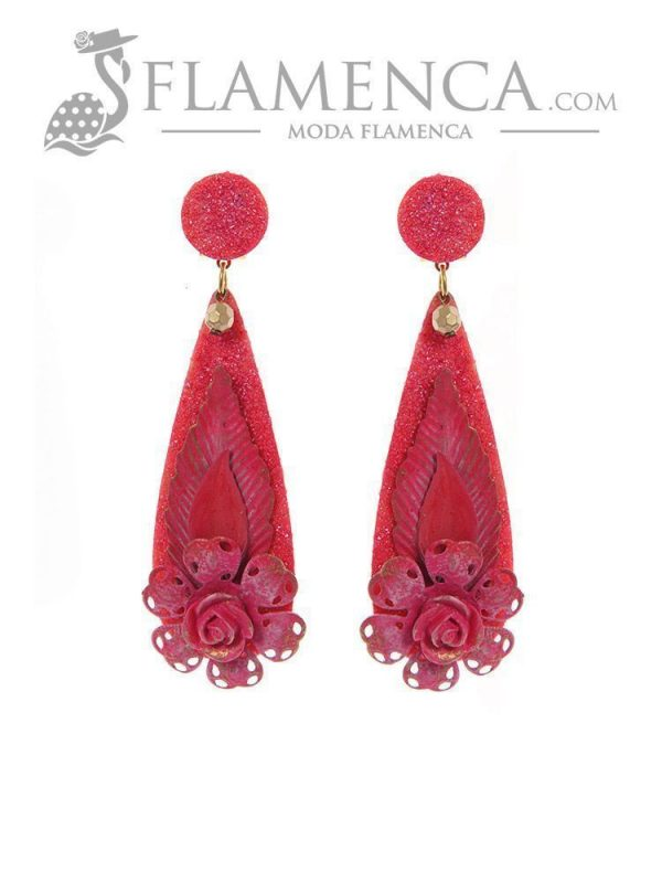 Pendiente de flamenca fucsia