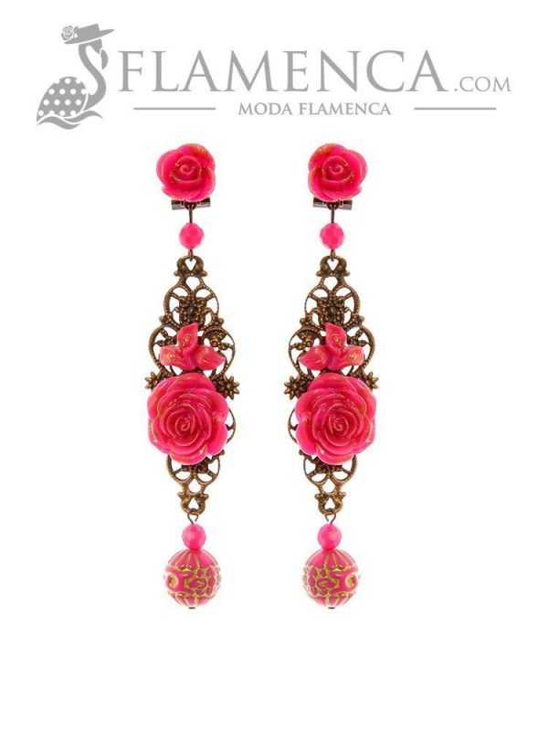 Fuchsia flamenco earring with gold highlights