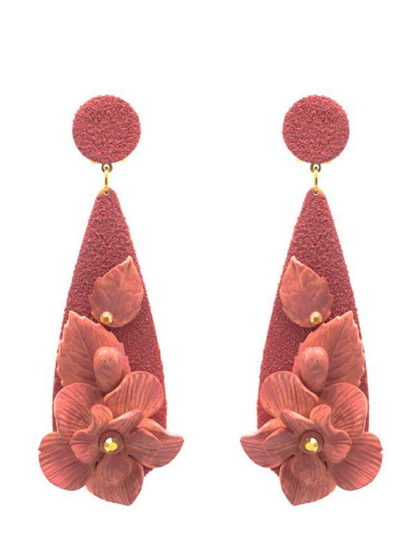 Pendiente de flamenca lágrima con flor de porcelana maquillaje