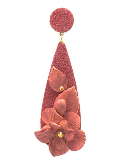 Flamenca tear earring with porcelain flower makeup