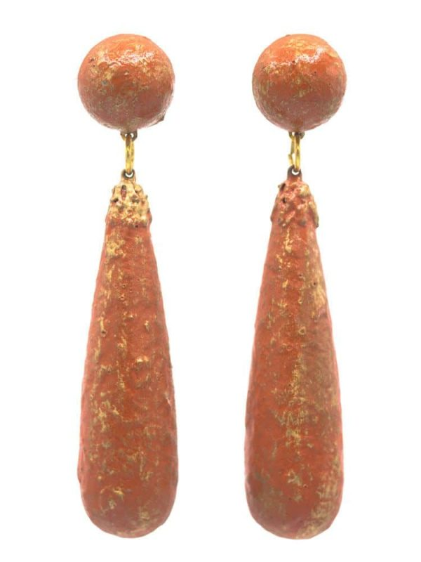 Flamenco earring tear cracked old coral