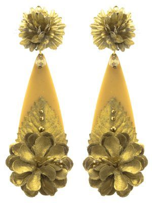 Flamenco flower teardrop earring gold tone fabric