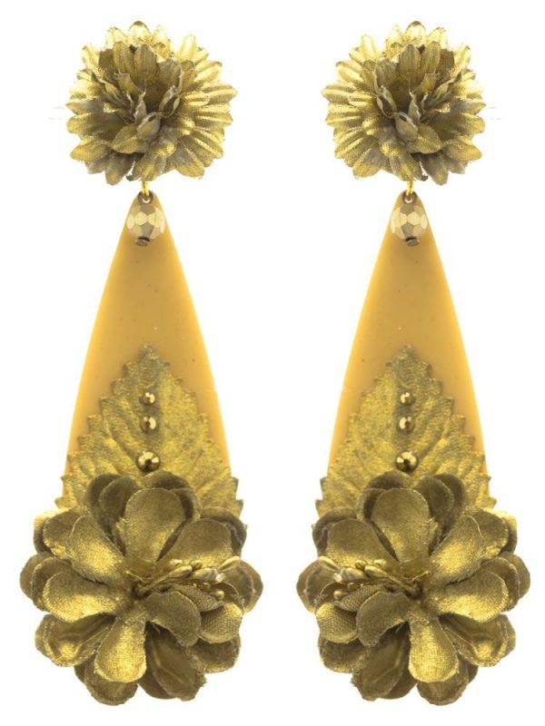 Pendiente de flamenca lágrima flor de tela tono oro
