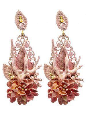 Pendiente de flamenca lágrima flor de tela tono rosa y reflejos dorados