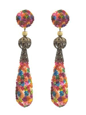 Multicolor pearl tear flamenco earring