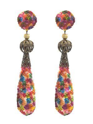 Multicolor pearl tear flamenco earring