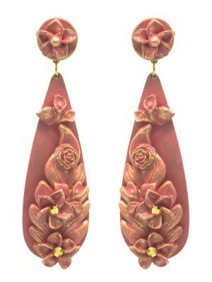 Pendiente de flamenca lágrima rosa chicle con reflejos dorados