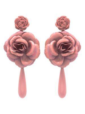 Pendiente de flamenca lágrima y flor color maquillaje lila