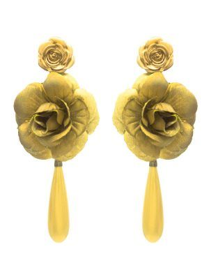 Flamenca teardrop and golden flower earring