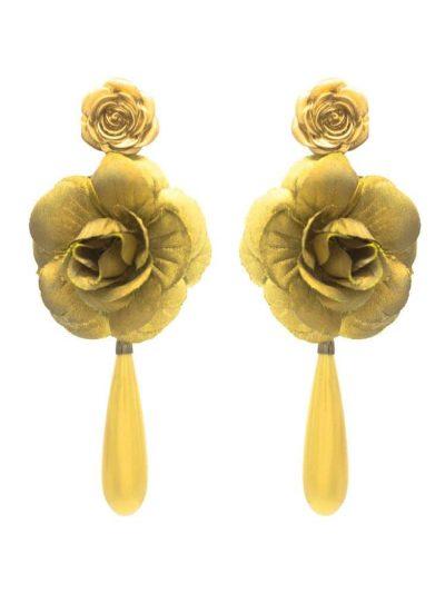 Pendiente de flamenca lágrima y flor dorada
