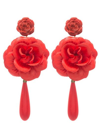 Flamenco flower earring in red, finished in tear, metal fittings, omega closure and measures: 50 x 96 mm (without head). Handmade in Seville.