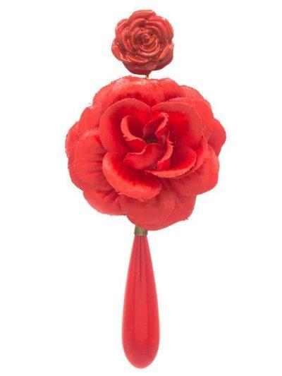 Flamenca earring tear and red flower