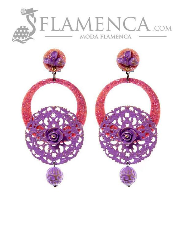 Mauve flamenco earring