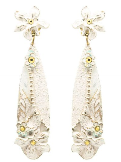 Flamenco ivory earring with golden highlights
