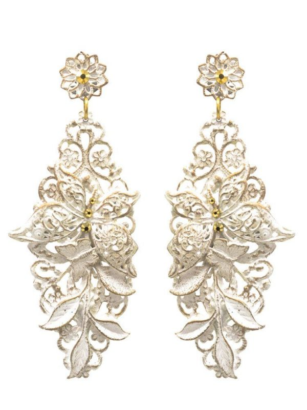 Flamenco ivory earring with gold highlights
