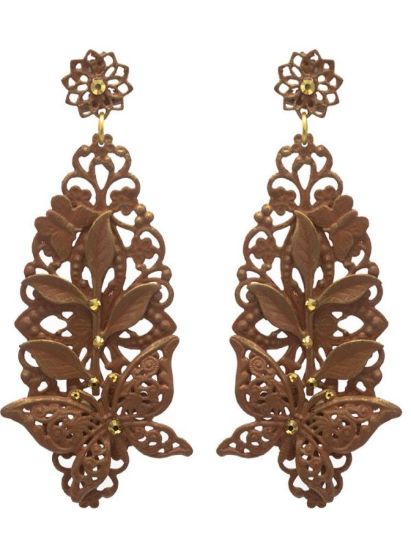 Brown flamenco earring with gold highlights