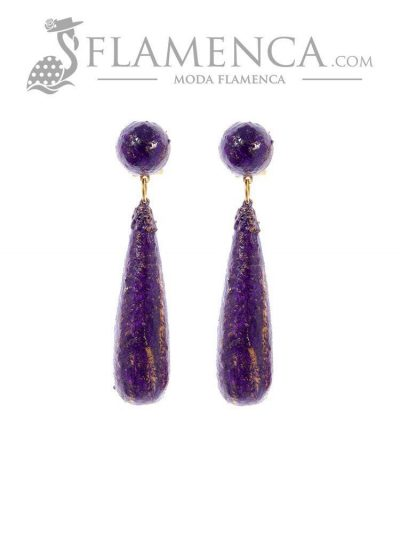 Purple flamenco earring with gold highlights