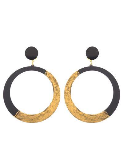 Pendiente de flamenca negro y dorado cromado