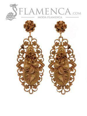 Pendiente de flamenca oro