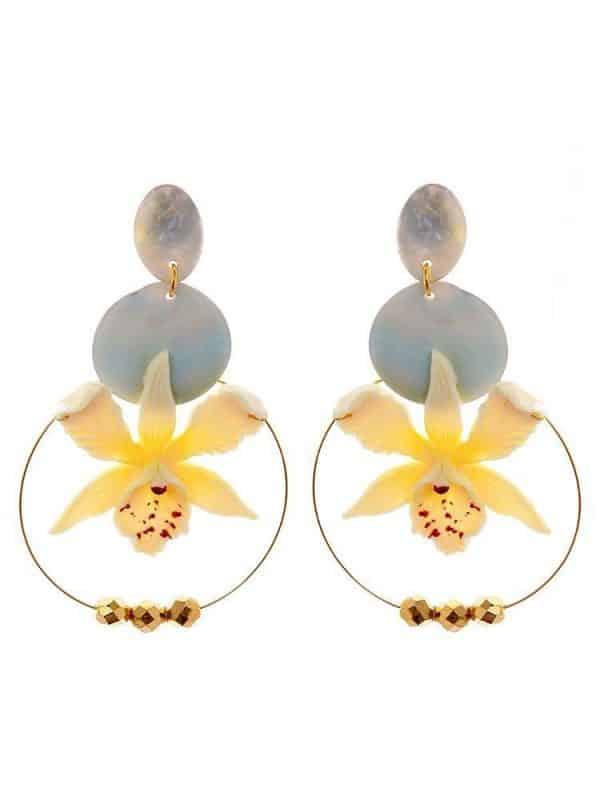 Pendiente de flamenca orquídea marfil con reflejos oro