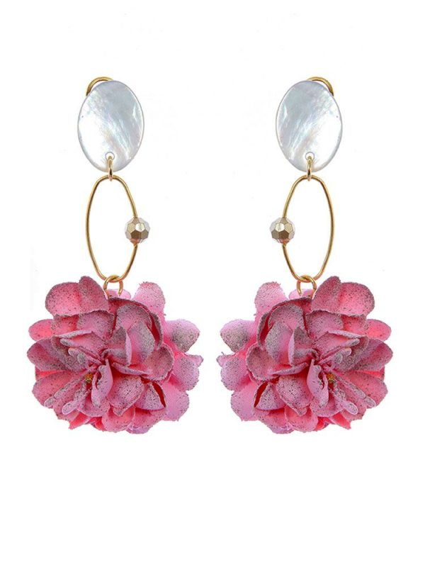Pendiente de flamenca lágrima flor tela rosa y reflejos dorados