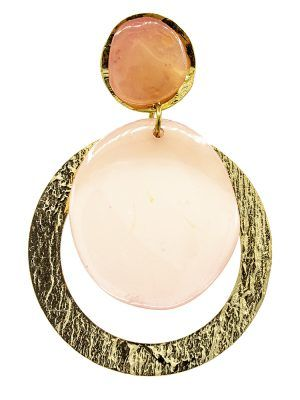 Pendiente de flamenca resina cristal rosa palo