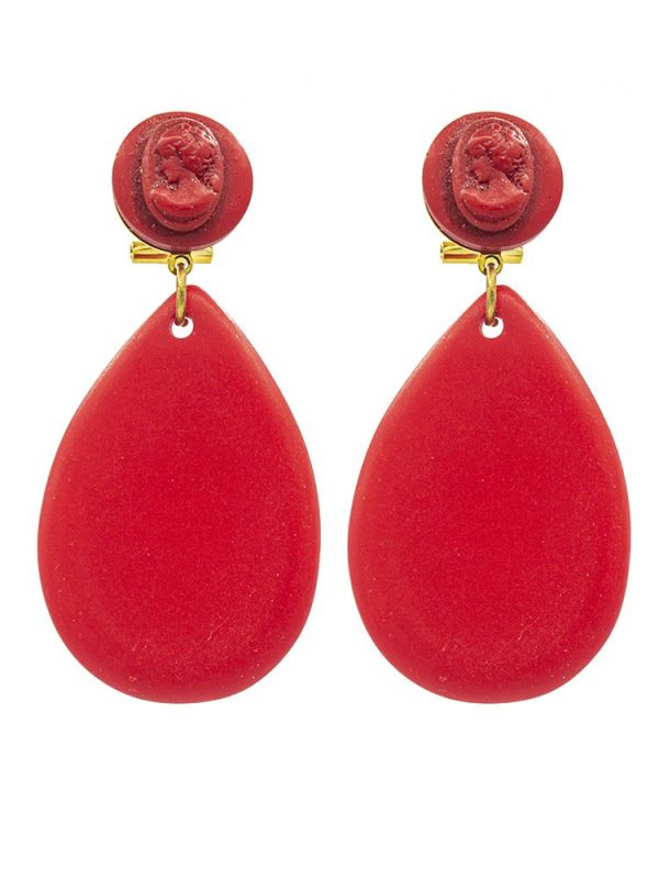 Pendiente de flamenca resina de lágrima pequeña rojo