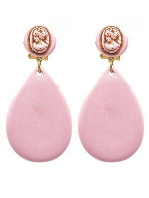 Pendiente de flamenca resina de lágrima pequeña rosa