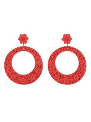 Pendiente de flamenca resina en forma de aro con filigrana en rojo