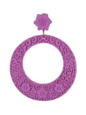 Pendiente de flamenca resina en forma de aro con filigrana malva
