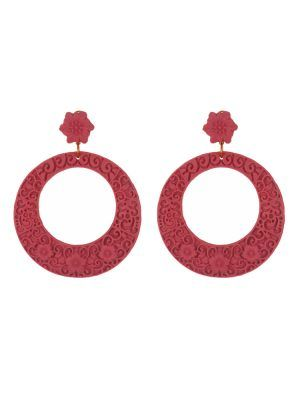 Flamenco resin hoop earring with coral filigree