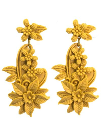 Earring flamenca floral resin color albero