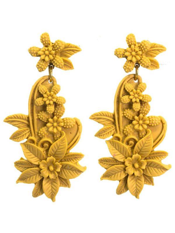 Earring flamenca floral resin color albero