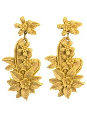 Flamenco earring floral resin camel color