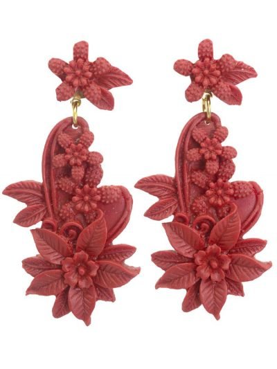Flamenco earring floral resin coral
