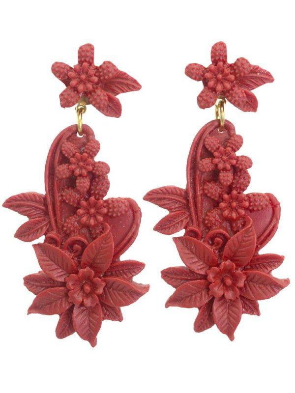 Pendiente de flamenca resina floral color coralina