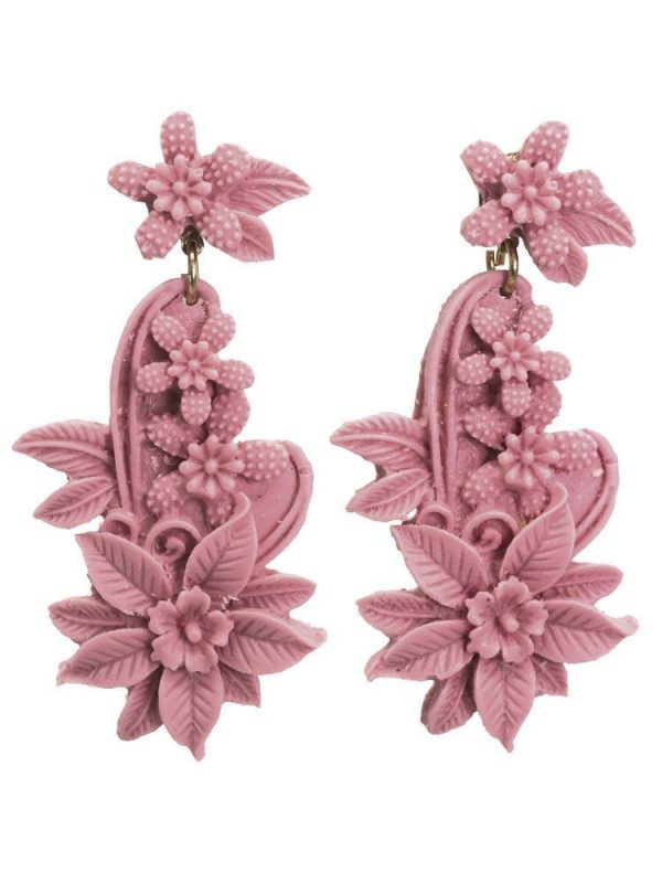 Lilac floral resin flamenco earring