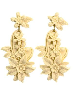 Ivory floral resin flamenco earring