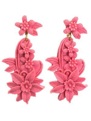 Bubble gum pink resin floral earring