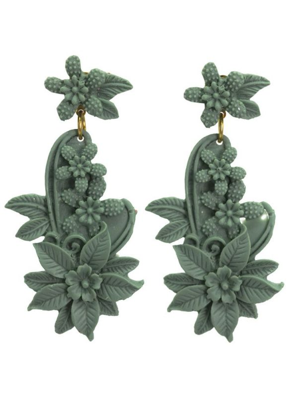 Flamenco earring floral resin water color green