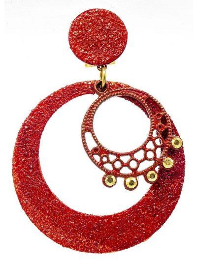 Pendiente de flamenca rojo con polvo de nácar