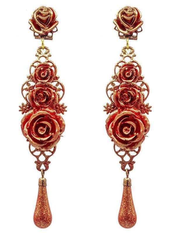 Pendiente de flamenca rojo con reflejos dorados