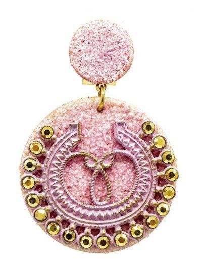 Pendiente de flamenca rosa con polvo de nácar