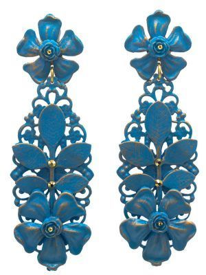Flamenco earring turquoise with gold highlights