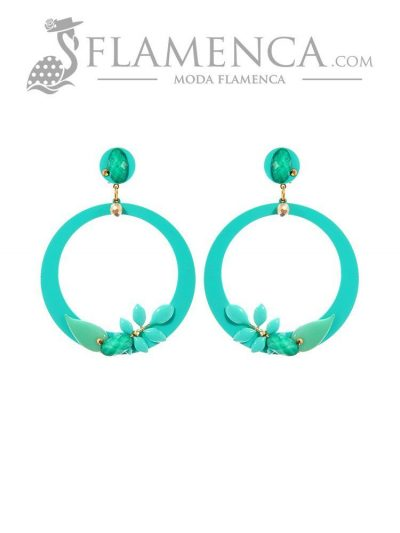 Water green flamenco earring